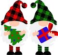 Merry Christmas Gnomes with hat vector stock design. Buffalo plaid clip art. Ranch sign. Home decor.