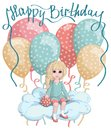 A little girl sitting on a cloud with polka dot balloons background and a `happy birthday` sign Royalty Free Stock Photo