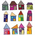 Children`s drawings of cartoon houses from fairy tales