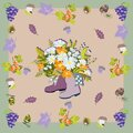 Rubber boots with flowers, grapes, rose hips Royalty Free Stock Photo