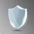 Glass shield. Blue acrylic security shield or plexiglass plate with gleams and light reflections. Concept of award trophy Royalty Free Stock Photo