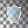 Glass shield in front view. Blue acrylic security shield or plexiglass plate with gleams and light reflections. Concept of award Royalty Free Stock Photo