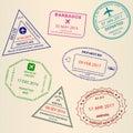 Passport stamp set. International Airport visa and custom stamps. Vector illustration Royalty Free Stock Photo