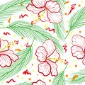Seamless pattern whith red white hibiscus