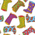 Rubber boots seamless vector pattern