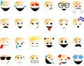 сборка смайловSet of vector emoticons in line style, emoji isolated on white background. Cute icons