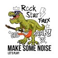 T-rex rock star print design