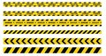 Caution and danger tapes. Warning tape. Black and yellow line striped. Vector illustration Royalty Free Stock Photo