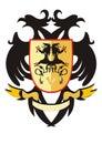 Águia heráldica Two-headed com um protetor Imagem de Stock Royalty Free