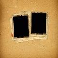 álbum del vintage con los marcos de papel para las fotos Imagenes de archivo
