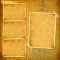 álbum viejo del vintage con los marcos de papel para las fotos Fotografía de archivo