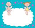 Ángeles del muchacho y de la muchacha en una nube Foto de archivo libre de regalías