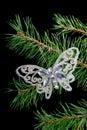 A árvore de Natal ornaments .butterfly Imagens de Stock