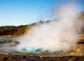 Éruption de geyser, Islande Images libres de droits