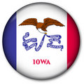 état de l'Iowa d'indicateur de bouton Images stock