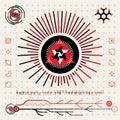 étranger futuriste abstrait logo symbols de techno hud icons set Photos stock