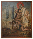 ícone antigo do monastério do panayia kera island da creta Imagem de Stock