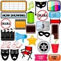 Ícones do vetor: Drama, entretenimento, película, filme Foto de Stock
