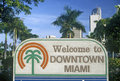 �Welcome to Downtown Miami� sign, Miami, Florida Royalty Free Stock Photo