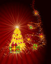 Ð¡hristmas tree with gifts on a red background. Stock Photography