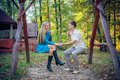 Ð¡ouple enjoying golden autumn fall season Stock Photos