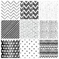 аbstract hand drawn seamless background patterns set of nine abstract geometric black and white fully editable eps file with Stock Image