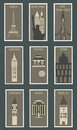 ð ollection of postage stamps with famous cities vector illustration Royalty Free Stock Images