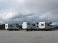 сampers kemper the house on wheels travelling norway in the parking lot Stock Photos