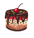 сherry dessert on a white background watercolor illustration Royalty Free Stock Images