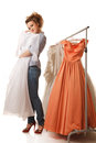 сhoosing wedding dress young beautiful woman is choosing Royalty Free Stock Images