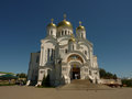 сhurch church with golden domes in nizhny novgorod Stock Images