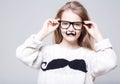 сute teenage girl wears eye glasses with long blondy hairs eyeglasses Royalty Free Stock Images