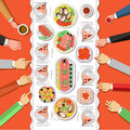Сatering party with people hands and a table Royalty Free Stock Photo