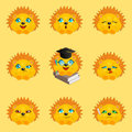Hedgehogs icons set vector. Hedgehogs with different facial expressions. Royalty Free Stock Photo