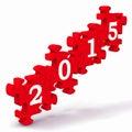 łamigłówka pokazuje przyszłościowego roku kalendarz Zdjęcia Stock