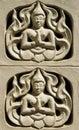 ściana z aniołem ono modli się dla bóg w tajlandzkiej świątyni Obrazy Stock