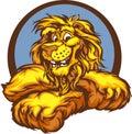śliczna graficzna szczęśliwa wizerunku lwa maskotka Obrazy Stock