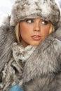 żakieta futerkowego kapeluszu portret target1597_0_ kobiety potomstwa Obrazy Royalty Free