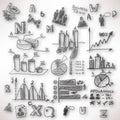 αφηρημένο υπόβαθρο με θο ωμένος doodles και σκίτσα Στοκ Φωτογραφίες