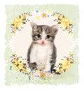 εκ εκτής ποιότητας κάρτα με το χνου ωτά γατάκι και τα τριαντάφυ  α Στοκ Εικόνα