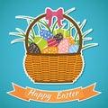 κάρτα πάσχα ευτυχές basket easter eggs στοιχεία πάσχας Στοκ Φωτογραφία