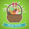 κάρτα πάσχα ευτυχές basket easter eggs Στοκ φωτογραφίες με δικαίωμα ελεύθερης χρήσης