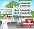 μια νοσοκόμα μπροστά από το νοσοκομείο Στοκ Εικόνες