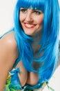 μπλε περούκα φορεμάτων Στοκ Φωτογραφία