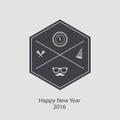νέο έτος hipster  ιακριτικό και σά πιγγα στενοχωρημένο  ιάνυσμα Στοκ εικόνες με δικαίωμα ελεύθερης χρήσης