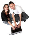 image photo : Casual couple on laptop