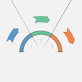 πρότυπο τρία infographic βέ η και semicircle θέσεων Στοκ Εικόνες