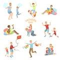 σύνο? ο απεικόνισης ημέρας πατέρων παιχνι? ιού dads με τα παι? ιά Στοκ Εικόνα