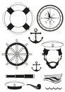вектор комп ект моря и морских украшений Стоковое Изображение RF