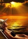 волшебный заход солнца Стоковые Изображения